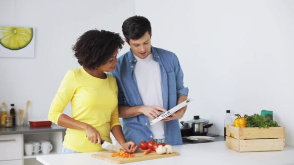 Thumbnail for Happy Couple with Tablet Pc Cooking Food at Home 4