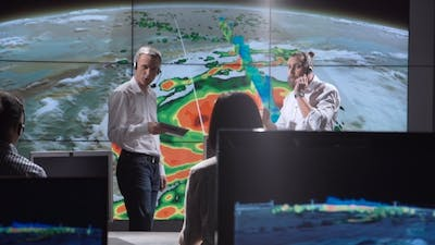 Researchers Tracking Hurricane on Monitor