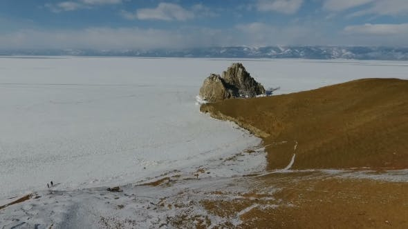 Cover Image for Flying Over Lake Baikal, Frozen Lake Covered with a Thick Layer of Ice