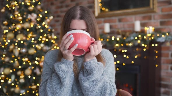 Thumbnail for Happy Smiling Woman in the Sweater Drinks Hot Chocolate Near the Shining Christmas Tree at Her