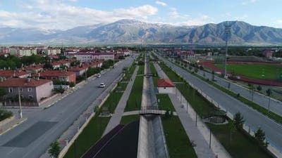 traffic highway and green space