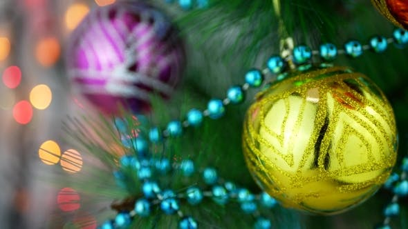 Thumbnail for Yellow and Violet Baubles on Christmas Tree