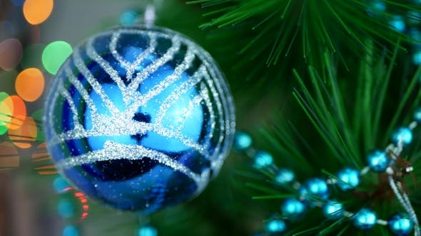Thumbnail for Blue Baubles on Christmas Tree