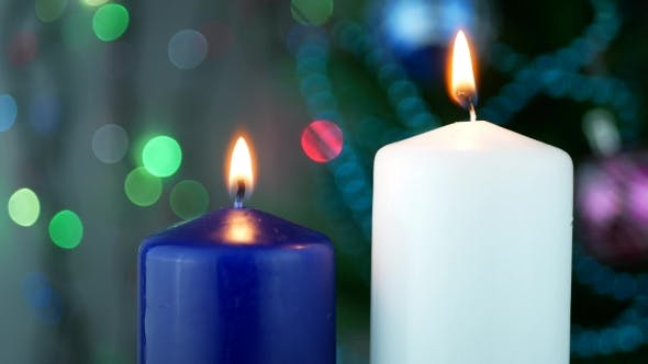 Thumbnail for White and Blue Candles Are Burning