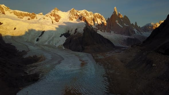 Thumbnail for Flight Over Cerro Torre Mountain and Laguna Torre at Sunrise. Patagonia, Argentina