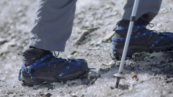 Rampon on Winter Boot and Tracking Sticks for Climbing Irons