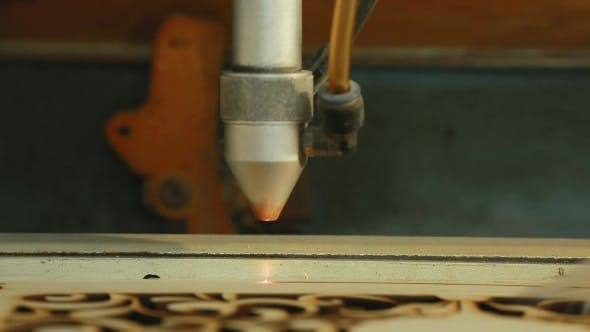 Thumbnail for Machine for Laser Cutting Wood  Cuts Chipboard and the Smoke Appears