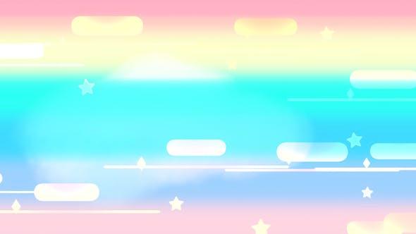 Thumbnail for Cartoon Rainbow Night Sky 2