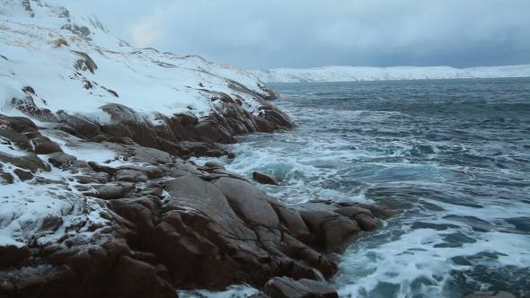 Thumbnail for Snowfall Over the Stormy Sea in the North