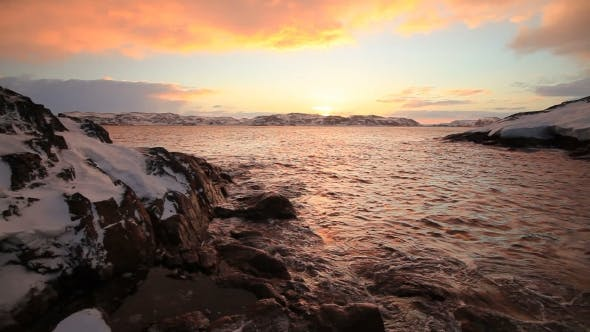 Thumbnail for Arctic Ocean at Sunset During a Storm