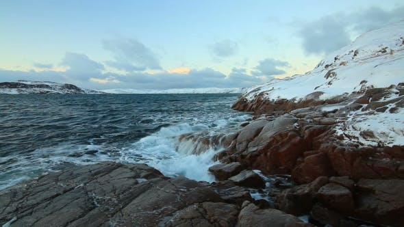 Thumbnail for Sunset Over the Stormy Sea. Arctic Coast