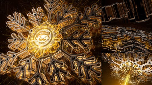 Snowflake Opener 3D/ Gold Metal Intro/ Syfy Winter/ High Technology Snow Intro/ HUD Logo/ New Year