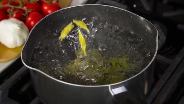 Thumbnail for Pasta Falling Into Pot Slow Motion
