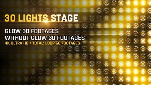 30 Lights Stage 4K Loop Footage/ Gold Award Led Light Stage Backgrounds/ Strobe Dance Party Concert