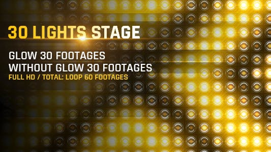 Thumbnail for 30 Lights Stage Full HD Loop Footages/ Gold Award Led Light Stage Backgrounds/ Dance Party Concert