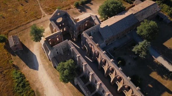 Drone Over Tuscan Church