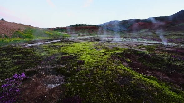 Thumbnail for Smoking Fumaroles Near Geysir Geyser