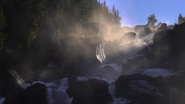 Thumbnail for Footage of a Rocky Waterfall in a Backlight