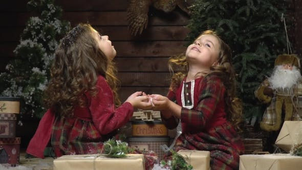 Thumbnail for Schöne Zwillinge in Kleidern sitzen unter den Weihnachtsdekorationen Blick auf den fallenden Schnee,