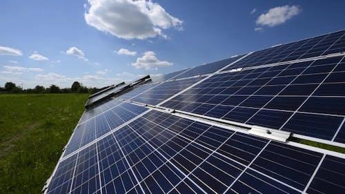 Solar Power Station Against the Blue Sky