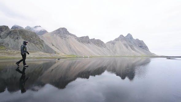 Thumbnail for Tourist Near Famous Stokksnes Mountains