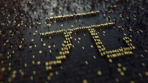 Chinese Yuan CNY Sign Made of Golden Numbers