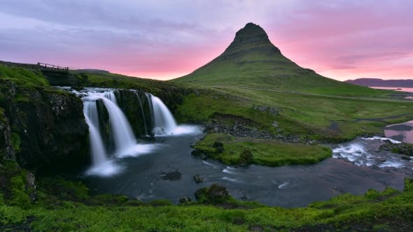 Cover Image for Colorful Sunrise on Kirkjufellsfoss Waterfall
