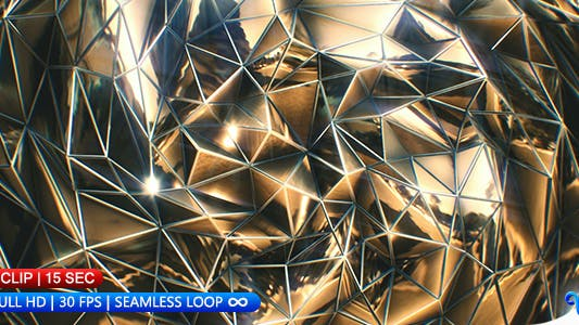 Thumbnail for Gold Polygons Wave Background