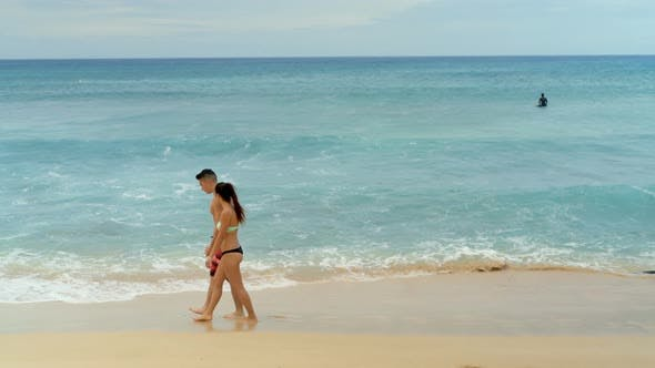 Thumbnail for Couple walking together on the beach 4k