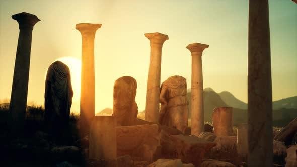 Old Roman Temple Ruins Sunset