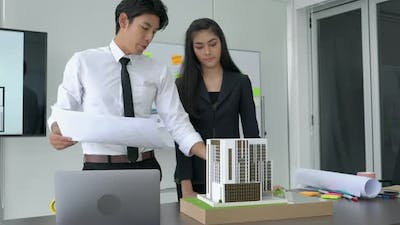 Business man and woman working