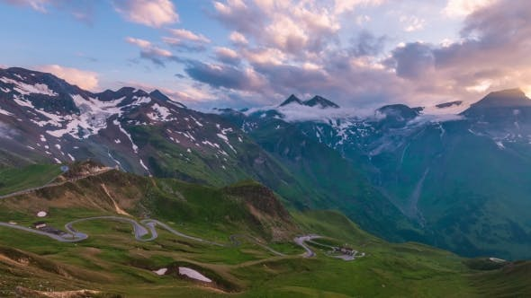 Cover Image for Amazing Sunset on the Top of Grossglockner Pass