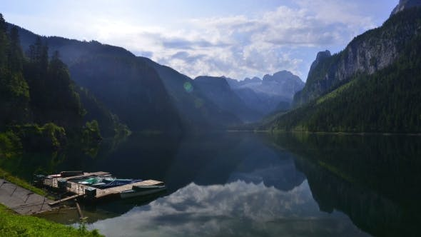 Fantastic Morning on Mountain Lake Gosausee