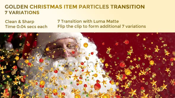 Thumbnail for Golden Christmas Item Particles Transition – 7 Variations