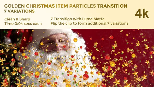 Thumbnail for Golden Christmas Item Particles Transition – 7 Variations – 4k