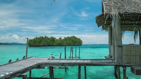 Thumbnail for Homstay Hut in Beautiful Blue Lagoone and Some Island in Background