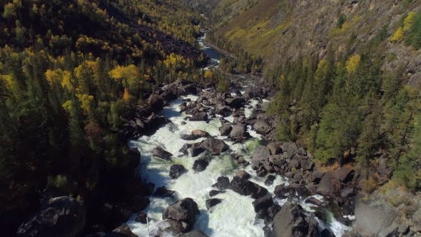 Cover Image for Aerial Flight Over Steam Raging River and Waterfall in Autumn Forest and Valley