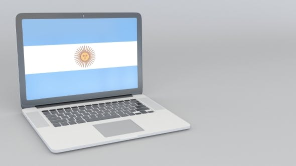 Thumbnail for Opening and Closing Laptop with Flag of Argentina on the Screen