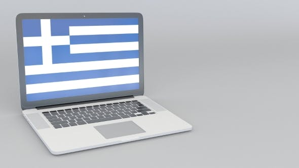 Thumbnail for Opening and Closing Laptop with Flag of Greece on the Screen