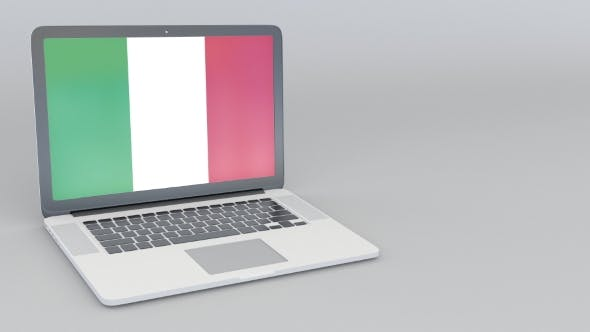 Thumbnail for Opening and Closing Laptop with Flag of Italy on the Screen