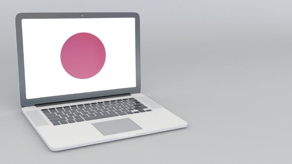 Thumbnail for Opening and Closing Laptop with Flag of Japan on the Screen