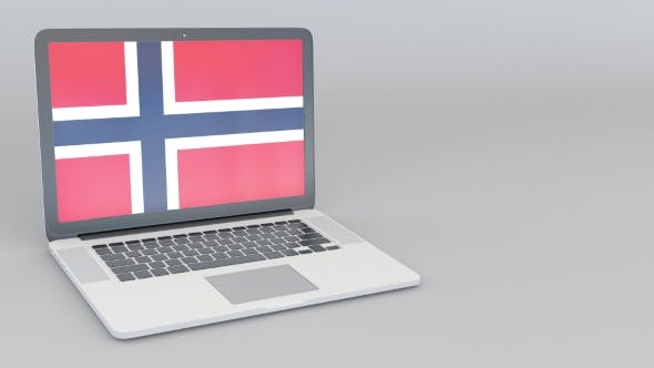 Thumbnail for Opening and Closing Laptop with Flag of Norway on the Screen