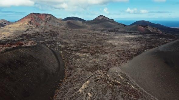Aerial Panorama of Volcanic Valley Near Timanfaya National Park, Lanzarote