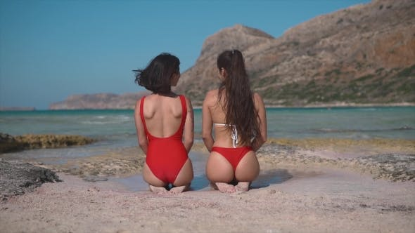 Thumbnail for Two Beautiful Young Girls Looking To the Sea