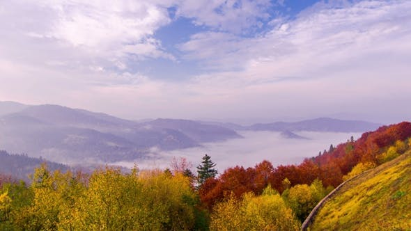 Thumbnail for Autumn. Misty Morning in the Mountains