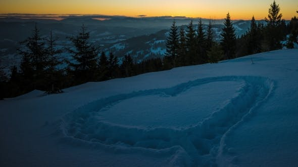 Cover Image for Heart on Snow, Sunrise Winter Mountain