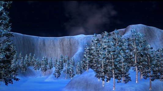 Snow Terrain With Trees