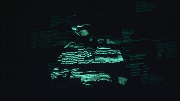 Thumbnail for Spyware for Hacking Sites. Black Background. Silhouette