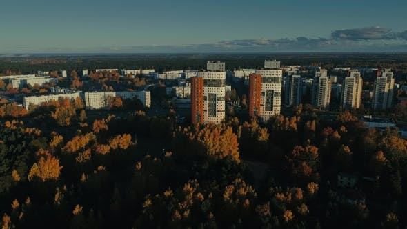 Thumbnail for Riga City Autumn Buildings Living Houses Drone