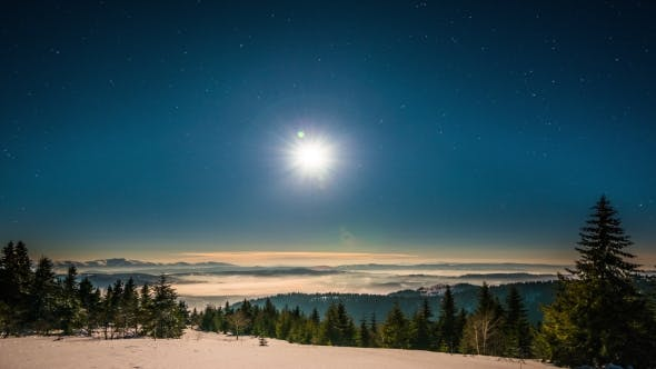 Thumbnail for Moon and Stars  in Carpathian Mountains